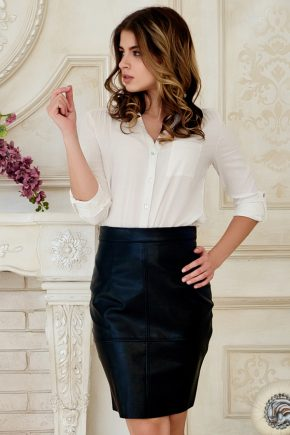 skirt-leather-black