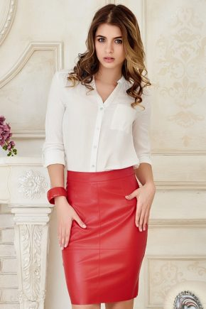 skirt-leather-red