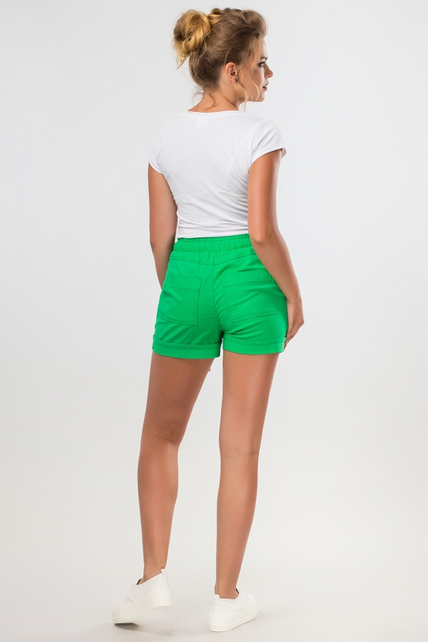 short-green-linen-back
