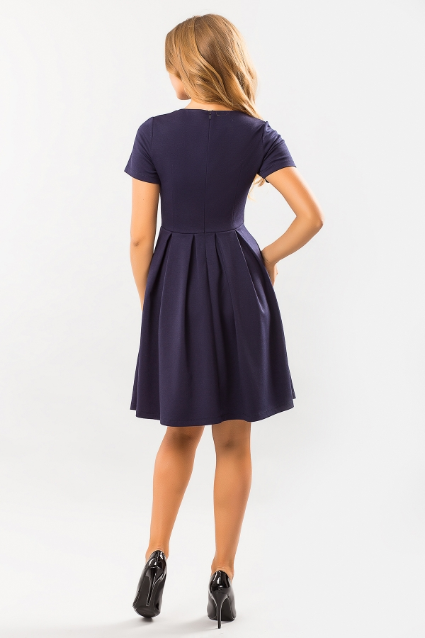 dark-blue-dress-round-collar-back
