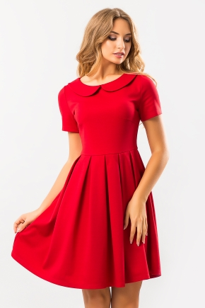 red-dress-round-collar
