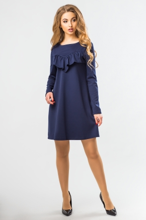 dark-blue-a-line-dress-ruffles