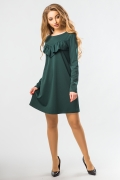 dark-green-a-line-dress-ruffles