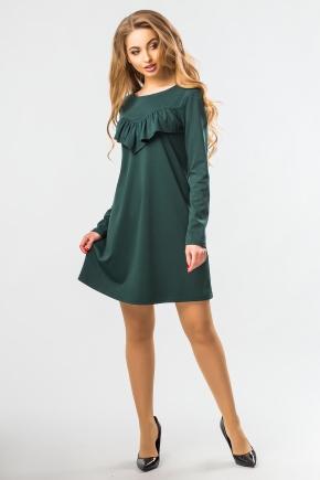 dark-green-a-line-dress-ruffles
