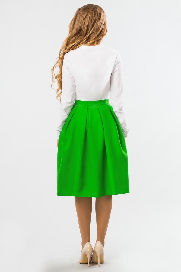 midi-skirt-green-color-back