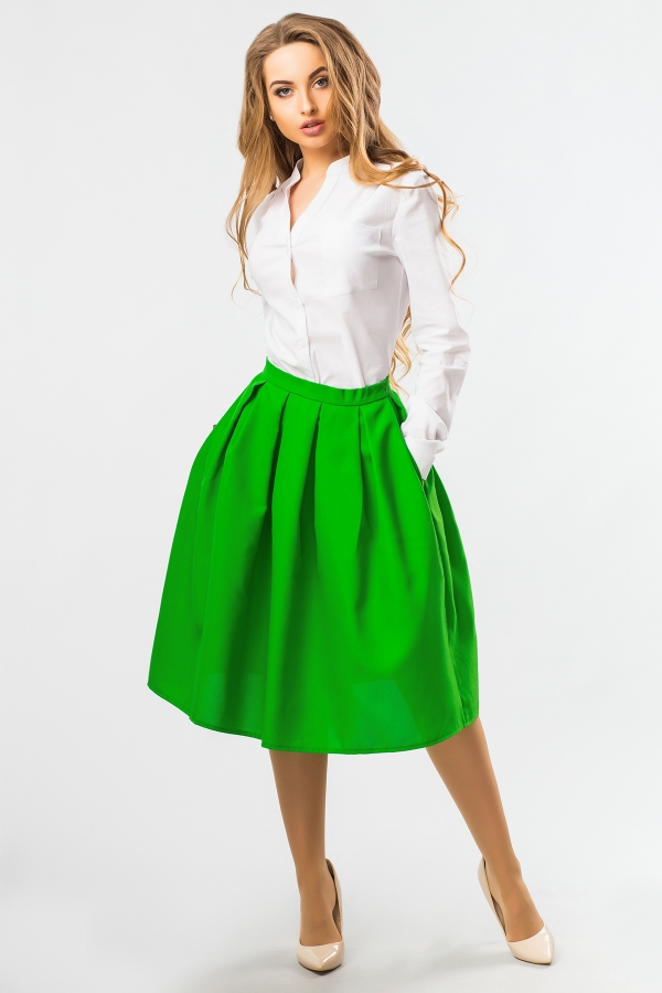 midi-skirt-green-color-half