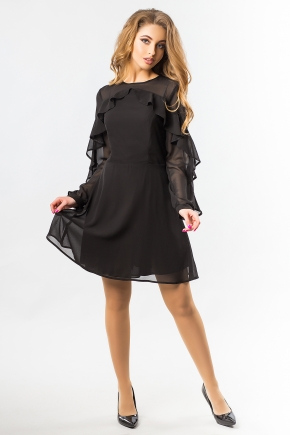 black-chiffon-dress-with-ruffles