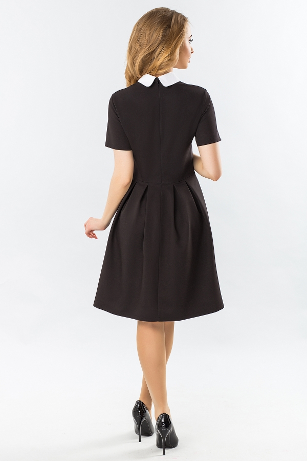 black-dress-with-white-round-collar-and-warehouses-back