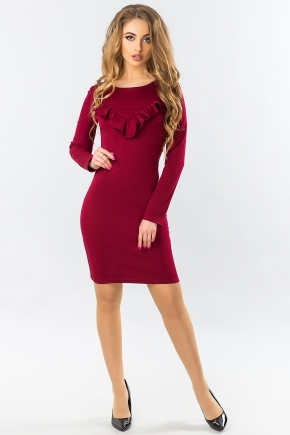 bordo-tight-dress-with-ruches