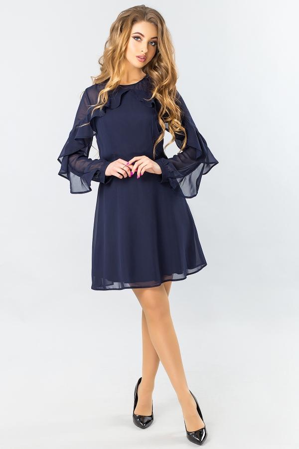 dark-blue-chiffon-dress-with-2-ruffles