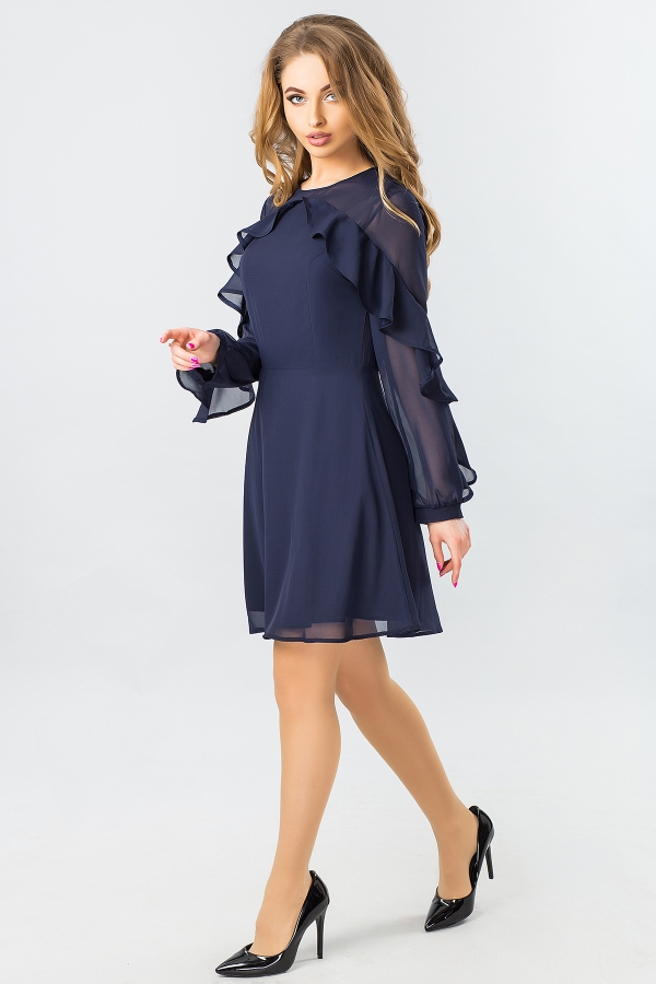 dark-blue-chiffon-dress-with-2-ruffles-half