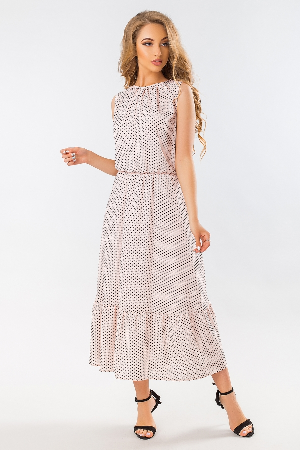 beige-dot-dress-long-skirt-half