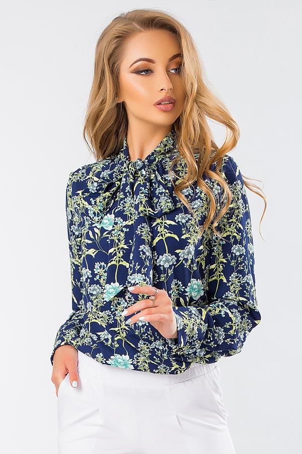 blouse-with-tie-flowers-dark-blue