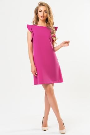 raspberry-dress-with-flounces-shoulders