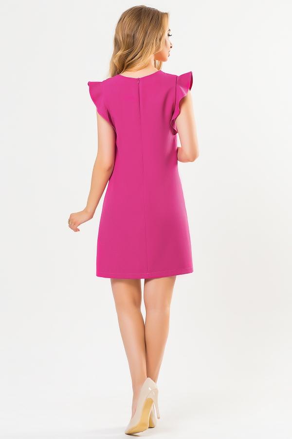 raspberry-dress-with-flounces-shoulders-back