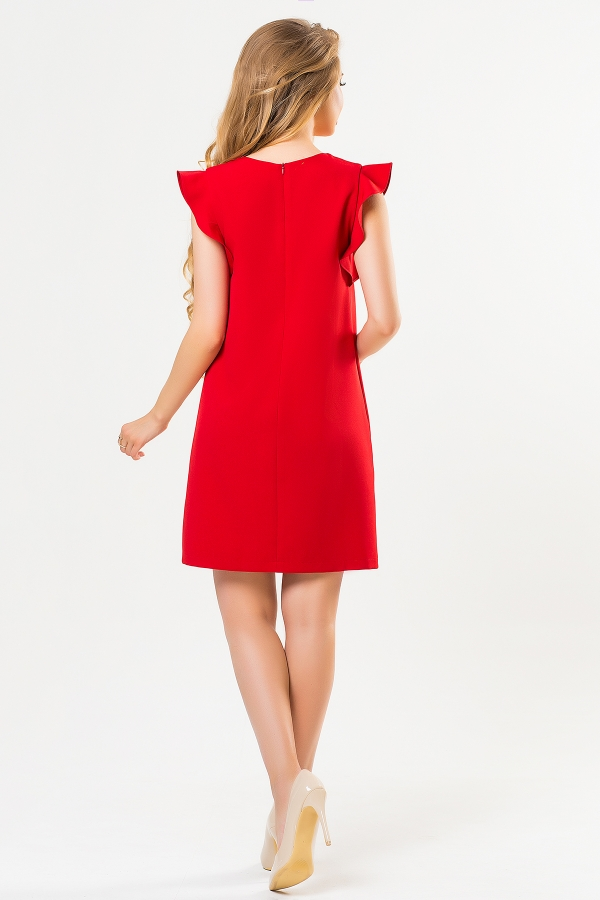 red-dress-with-flounces-shoulders-back