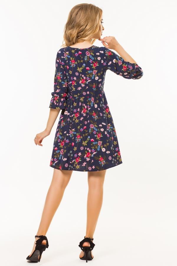 dark-blue-dress-floral-print-back