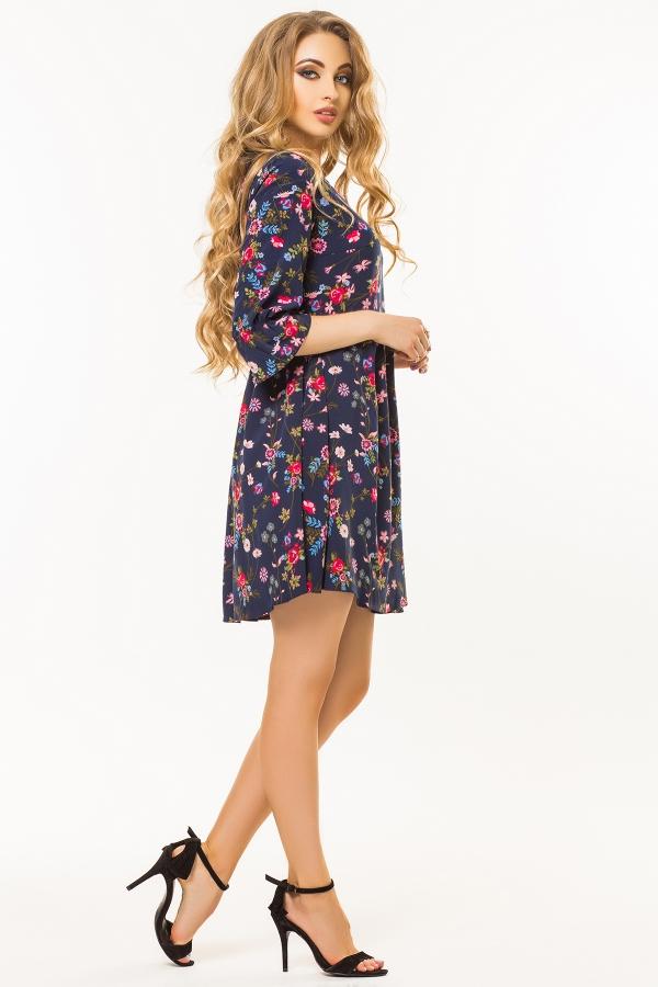 dark-blue-dress-floral-print-half