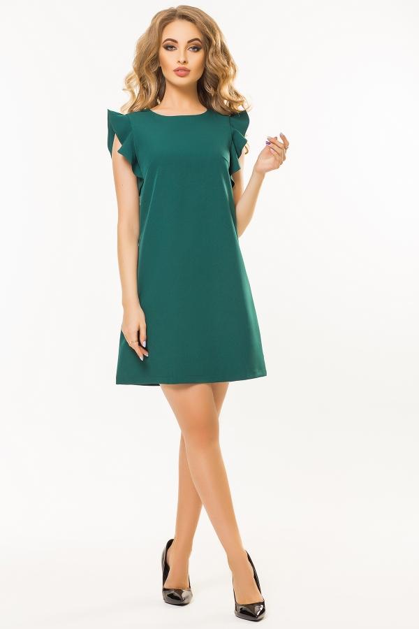 dark-green-dress-flounces-shoulders
