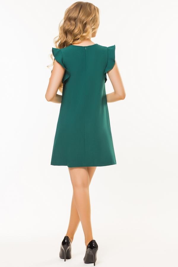 dark-green-dress-flounces-shoulders-back