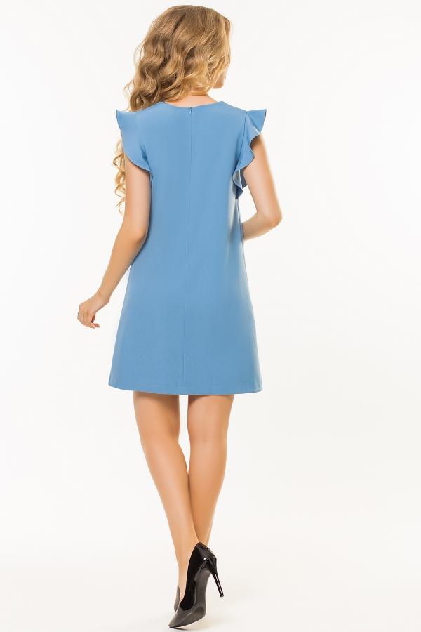 gray-blue-dress-flounces-shoulders-back