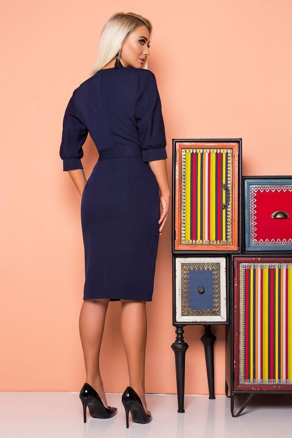 dark-blue-dress-belt-cap-sleeves-back