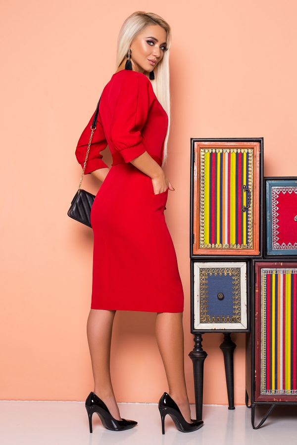 red-dress-belt-cap-sleeves-back